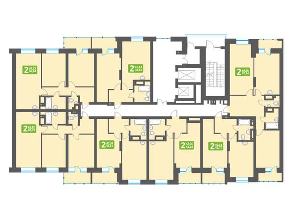 Планировки Жилой комплекс МАРСЕЛЬ, 6 этап - Блок-секция 16. Планировка типового этажа