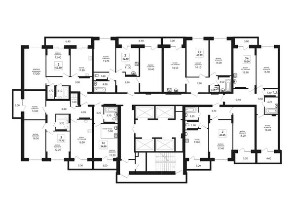 Планировки Жилой комплекс VIVANOVA (Виванова) - Подъезд 1. Планировка типового этажа