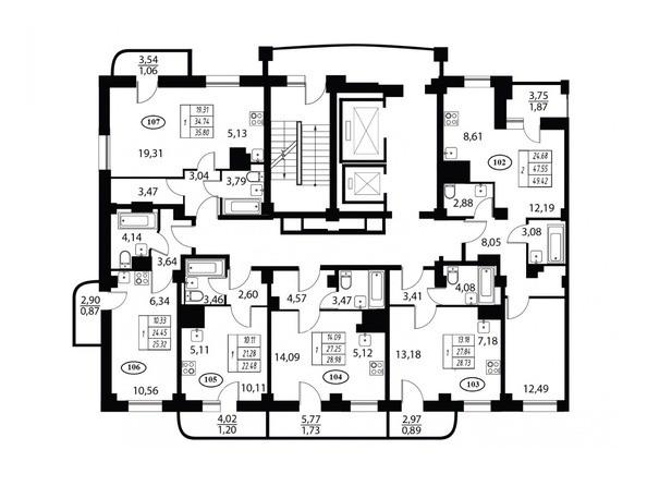 Планировка типового этажа 2 подъезд