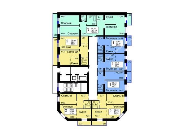 Планировки Жилой комплекс РЯБИНОВЫЙ САД, 3 оч, 1 этап - Блок-секция 14. Планировка 10-16 этажей