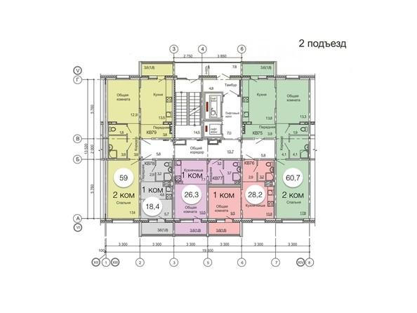 Планировки Жилой комплекс ВРЕМЕНА ГОДА, дом 11 - Планировка типового этажа, 2 б/с