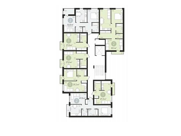 Планировки Жилой комплекс ДУНАЕВСКИЙ, дом 3 - Подъезд 2. Планировка 2-9 этажей