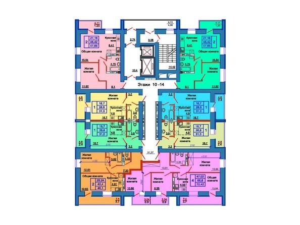 Планировка 10-14 этажей