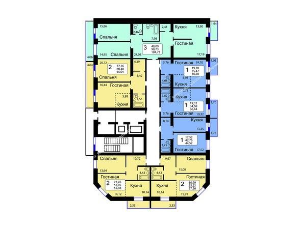 Планировки Жилой комплекс РЯБИНОВЫЙ САД, 3 оч, 1 этап - Блок-секция 14. Планировка 1-9 этажей