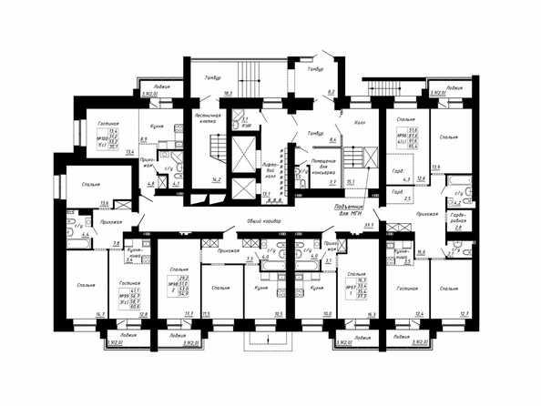Подъезд 4. Планировка типового этажа