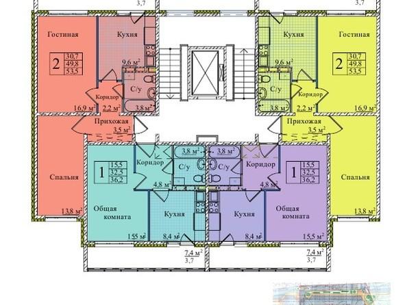 Планировки Жилой комплекс КЕМЕРОВО-СИТИ, дом 37, б/с 1, 2, 3 - Планировка типового этажа, 2 б/с