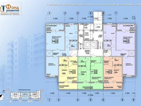 Планировки Жилой комплекс ТОМЬ, дом 19 - б/с 2. Этаж 1