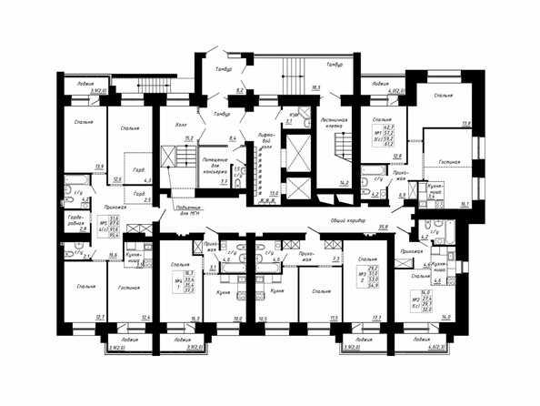Подъезд 3. Планировка типового этажа