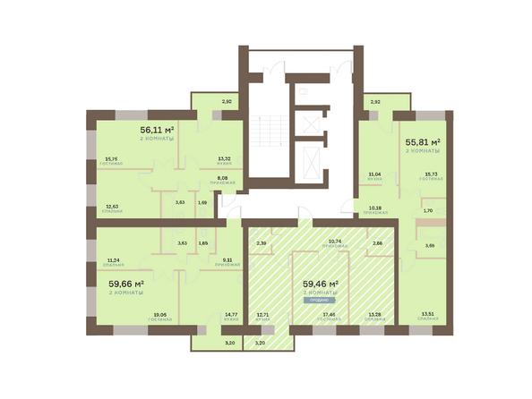 Планировки Жилой комплекс Академгородок, дом 1, корп 2 - Корпус 2. Подъезд 7. Планировка 2-6 этажей