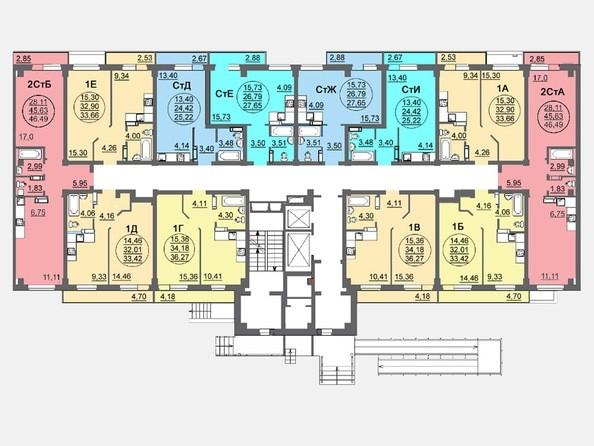 Планировки Жилой комплекс ЛЕТО, дом 3, б/с 1,2 - Блок-секция 2. Планировка 1 этажа