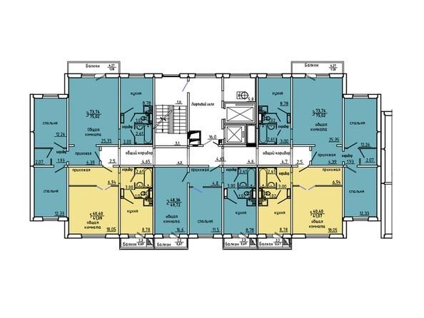 Планировки Иннокентьевский, 3 мкр, дом 6 - Подъезд 3. Планировка 15-17 этажей