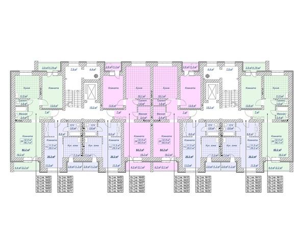 Планировки Жилой комплекс Спортивная, 15 - Планировка 4-9 этажей