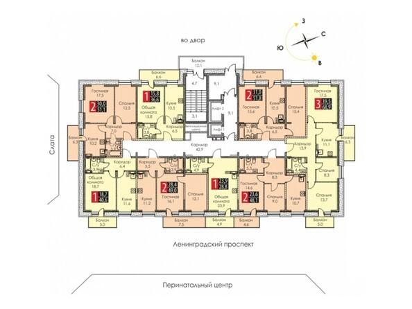 Блок-секция 1. Планировка 2-8 этажей