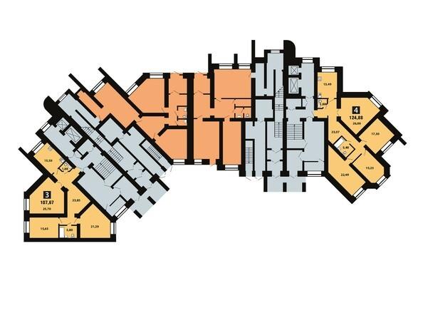 Планировки Копылова, 5 дом, 1 оч - Планировка 3 этажа