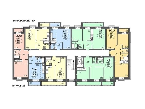 Планировки Жилой комплекс СВОБОДА, дом 5 - Подъезд 2. Планировка 2,4 этажей