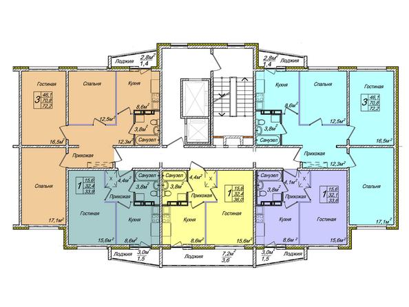 Планировки Жилой комплекс ВЕНЕЦИЯ-2, дом 6 - Подъезд 1. Планировка 1-12 этажей