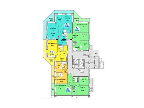 Блок-секция 1. Планировка 1 этажа