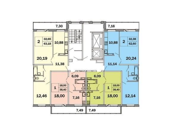 Планировки Жилой комплекс ЯСНЫЙ, дом 1 - Блок-секция 2. Планировка типового этажа
