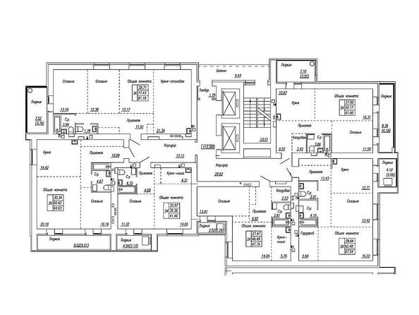 Планировки Жилой комплекс МОТОР, корпус 2 - Блок-секция 1. Планировка типового этажа