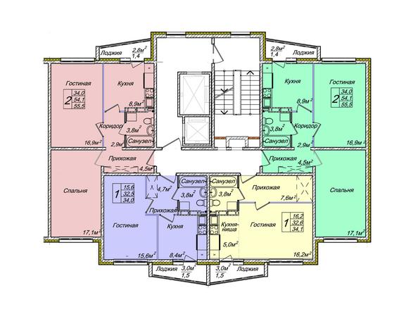 Планировки Жилой комплекс ВЕНЕЦИЯ-2, дом 5 - Подъезд 1. Планировка 1-12 этажей