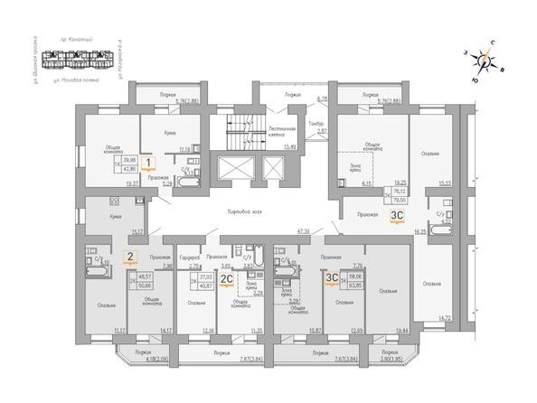 Блок-секция 3. Планировка 6-10 этажей