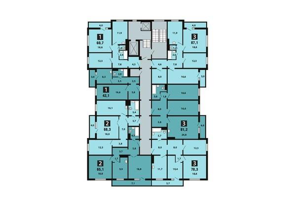 Планировки Жилой комплекс Светлогорский пер, 1 дом, 1 стр - Планировка 10-16 этажей