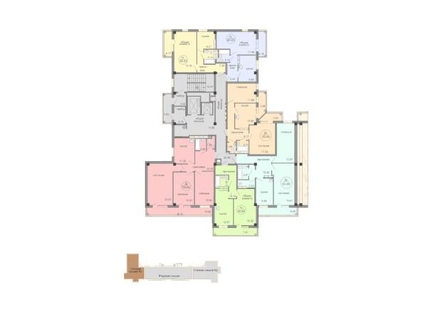 Планировки Жилой комплекс Амурский-2, дом 25 - Блок-секция 1. Планировка типового этажа.