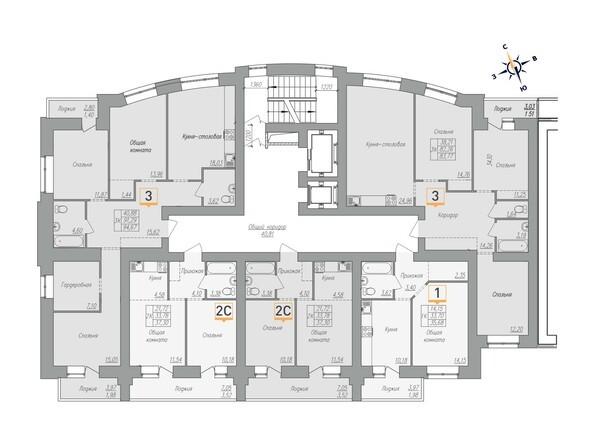 Планировки Жилой комплекс ОГНИ - Планировка 2-6 этажей, 1 б/с