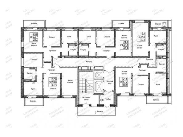 Планировки Жилой комплекс НА ШУМЯЦКОГО - Блок-секция 1. Планировка типового этажа