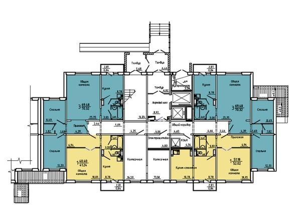 Планировки Жилой комплекс Нанжуль-Солнечный мкр, дом 5 - Подъезд 1. Планировка 1 этажа