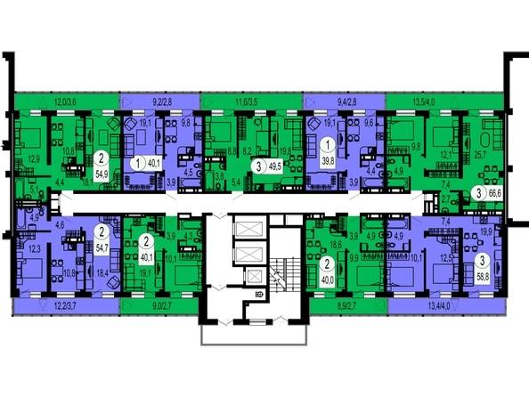 Планировки Жилой комплекс ТИХИЕ ЗОРИ, дом 1 (Красстрой) - Блок-секция 3. Этажи 13-18