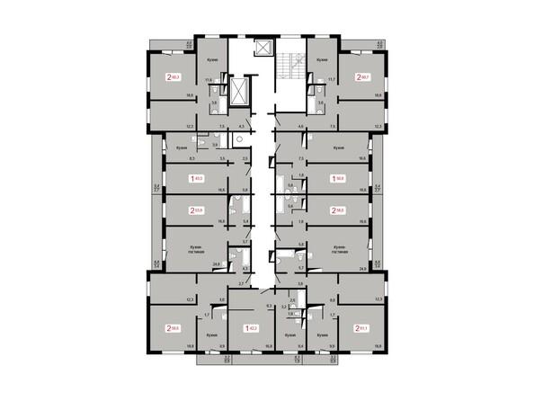 Планировки Жилой комплекс КУРЧАТОВА, дом 8, стр 2 - Планировка 17 этажа