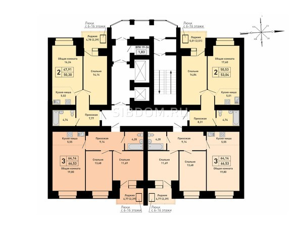Блок-секция 2. Планировка 3-8 этажей