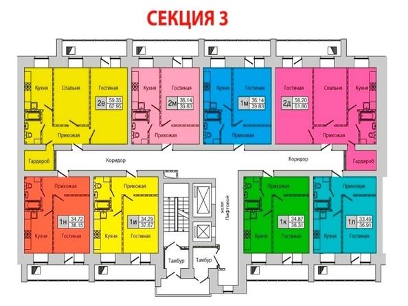 Планировки Жилой комплекс ЗАПАДНЫЙ, дом 1, 3 этап - Секция 3