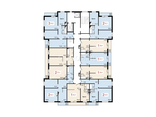 Планировки Жилой комплекс НОВОНИКОЛАЕВСКИЙ ж/к, 2 дом, 3 стр - Планировка 17 этажа