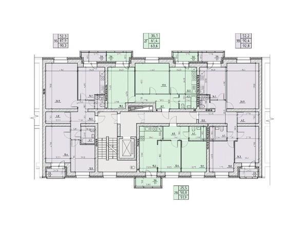 Подъезд №2. Планировка типового этажа