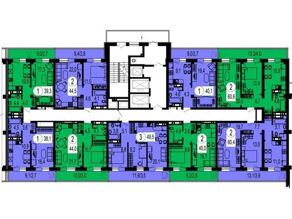 Планировки Жилой комплекс ТИХИЕ ЗОРИ, дом 1 (Красстрой) - Блок-секция 2. Этажи 20-25