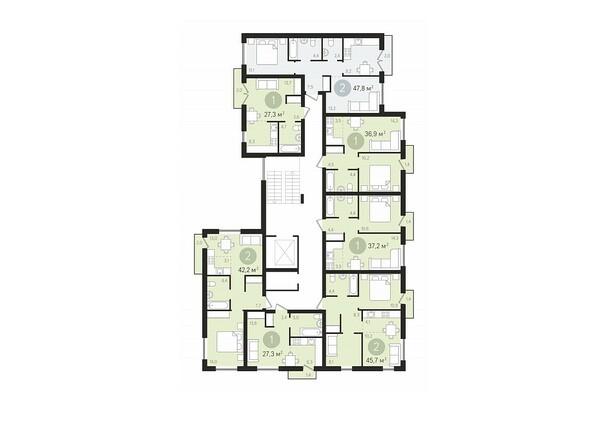 Планировки Жилой комплекс ДУНАЕВСКИЙ, дом 3 - Подъезд 5. Планировка 2-9 этажей