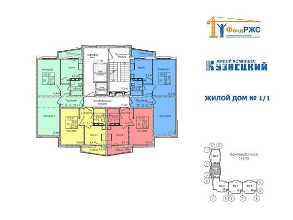 Планировки Жилой комплекс КУЗНЕЦКИЙ, дом 1, корп 1 - Блок-секция 2. Планировка типового этажа