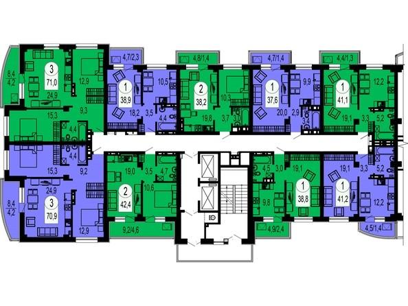 Планировки Жилой комплекс БЕЛЫЕ РОСЫ, дом 27 - Блок-секция 1. Планировка типового этажа