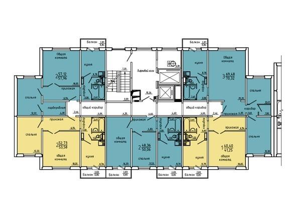 Планировки Жилой комплекс Нанжуль-Солнечный мкр, дом 5 - Подъезд 9. Планировка 2-14 этажей