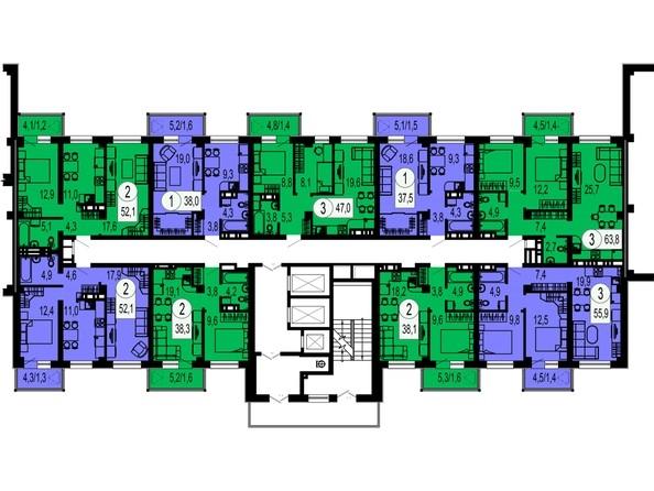Планировки Жилой комплекс ТИХИЕ ЗОРИ, дом 1 (Красстрой) - Блок-секция 3. Этажи 2-12
