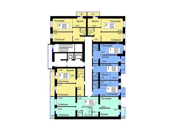 Планировки Жилой комплекс РЯБИНОВЫЙ САД, 3 оч, 1 этап - Блок-секция 13. Планировка 10-16 этажей