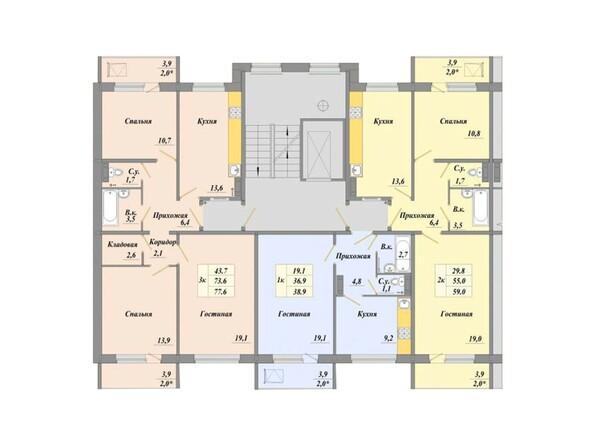 Планировки Микрорайон АКАДЕМИКА КОРОЛЕВА, дом 24/2 - Планировка типового этажа