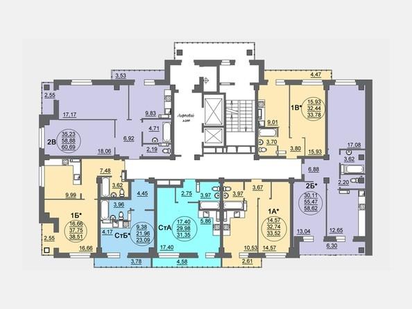 Планировки Жилой комплекс МАТРЕШКИН ДВОР, дом 95/4-2 - Блок-секция 2. Планировка 6-17 этажей