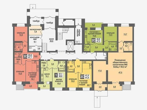 Планировки Жилой комплекс НИКОЛЬСКИЙ, дом 4 - Подъезд 2. Планировка 1 этажа