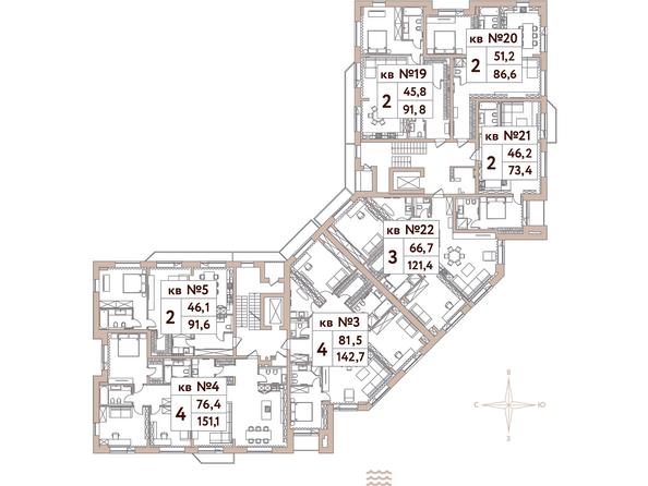 Планировки Жилой комплекс Эко-квартал Flora&Fauna (Флора и Фауна), блок А - Планировка 2 этажа