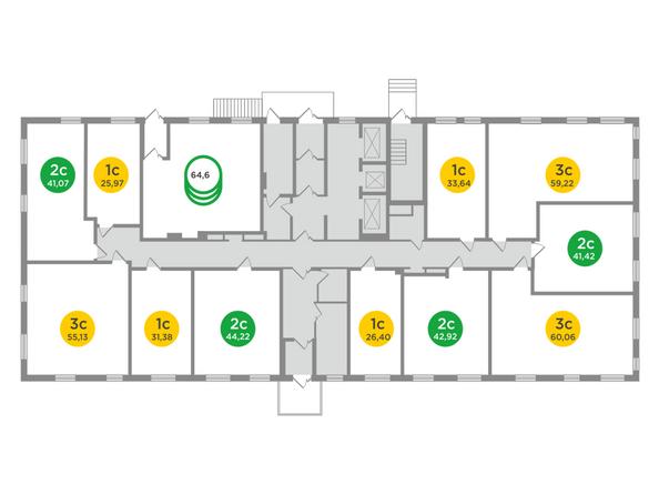 Планировки Жилой комплекс ЯСНЫЙ БЕРЕГ, дом 12 - Планировка типового этажа