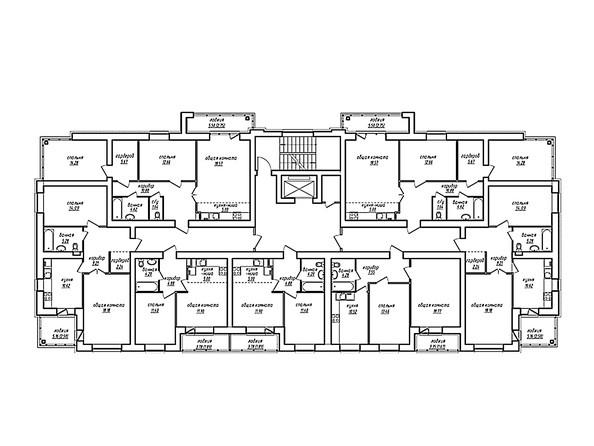 Планировки Жилой комплекс ПАРКОВЫЙ, Б/С 3 - Блок-секция 3. Планировка типового этажа