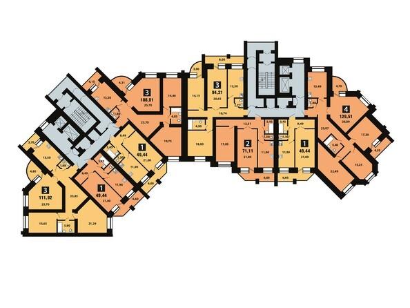 Планировки Копылова, 5 дом, 1 оч - Планировка 7 этажа